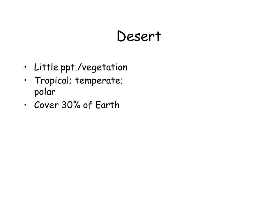Desert Little ppt./vegetation Tropical; temperate; polar Cover 30% of Earth