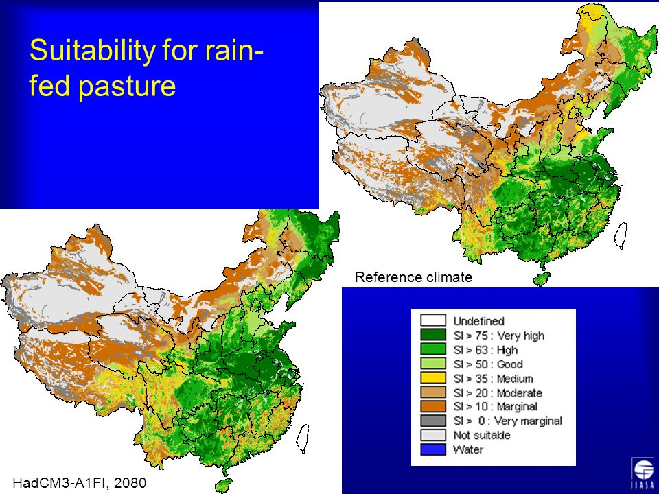 Suitability for rain- fed pasture Reference climate HadCM3-A1FI, 2080