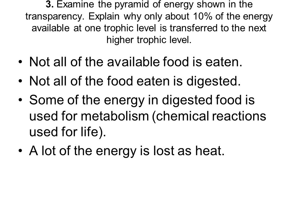 3. Examine the pyramid of energy shown in the transparency. Explain why only about 10% of the energy available at one trophic level is transferred to