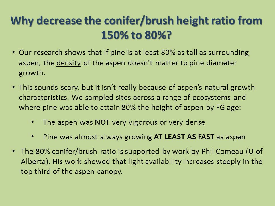 Why decrease the conifer/brush height ratio from 150% to 80%.