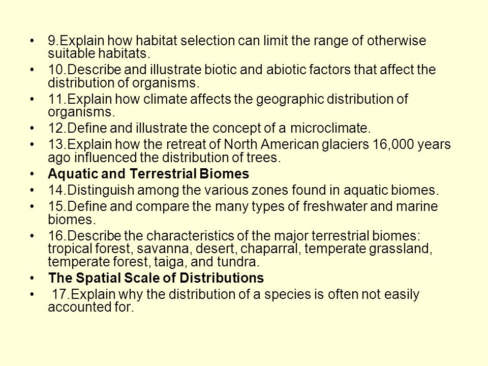 50.1 Ecology is the study of interactions between organisms and the environment Ecology –Is the scientific study of the (complex) interactions between organisms and the environment These interactions –Determine both the distribution of organisms and their abundance