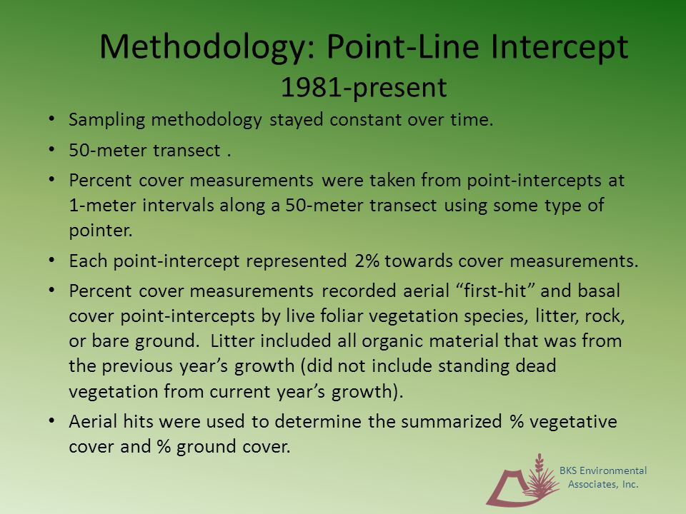 Methodology: Point-Line Intercept 1981-present Sampling methodology stayed constant over time.