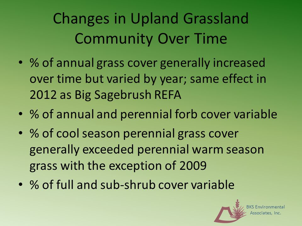Changes in Upland Grassland Community Over Time % of annual grass cover generally increased over time but varied by year; same effect in 2012 as Big Sagebrush REFA % of annual and perennial forb cover variable % of cool season perennial grass cover generally exceeded perennial warm season grass with the exception of 2009 % of full and sub-shrub cover variable BKS Environmental Associates, Inc.