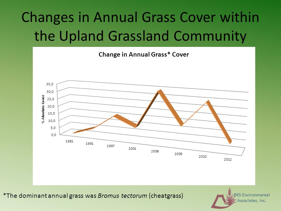 *The dominant annual grass was Bromus tectorum (cheatgrass) Changes in Annual Grass Cover within the Upland Grassland Community BKS Environmental Associates, Inc.