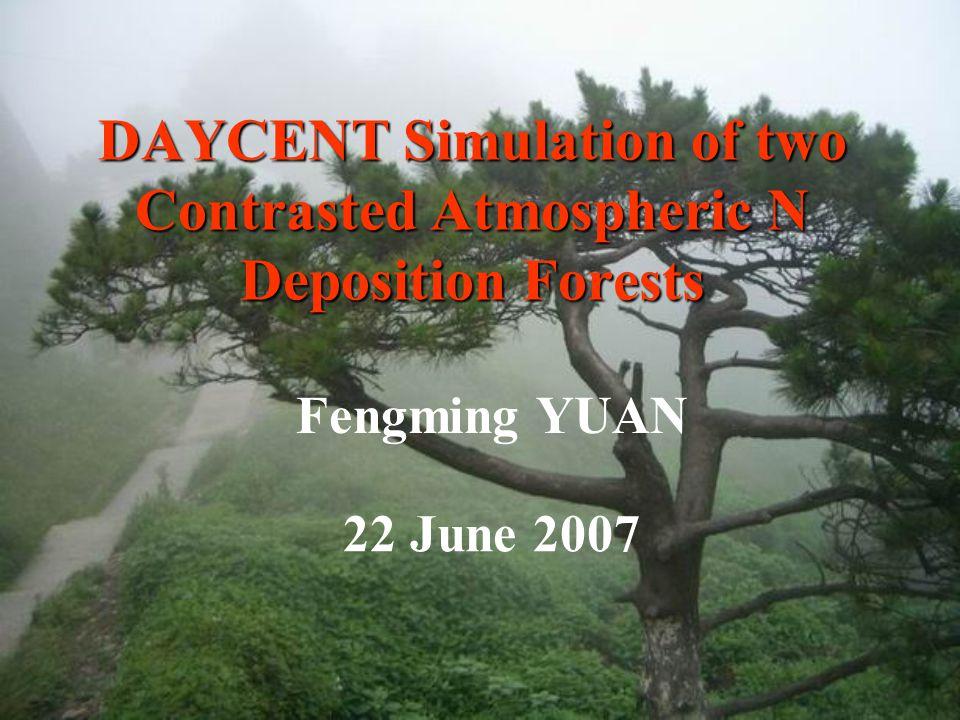   N deposition rate effects on N accumulations Mean +/- StDev.