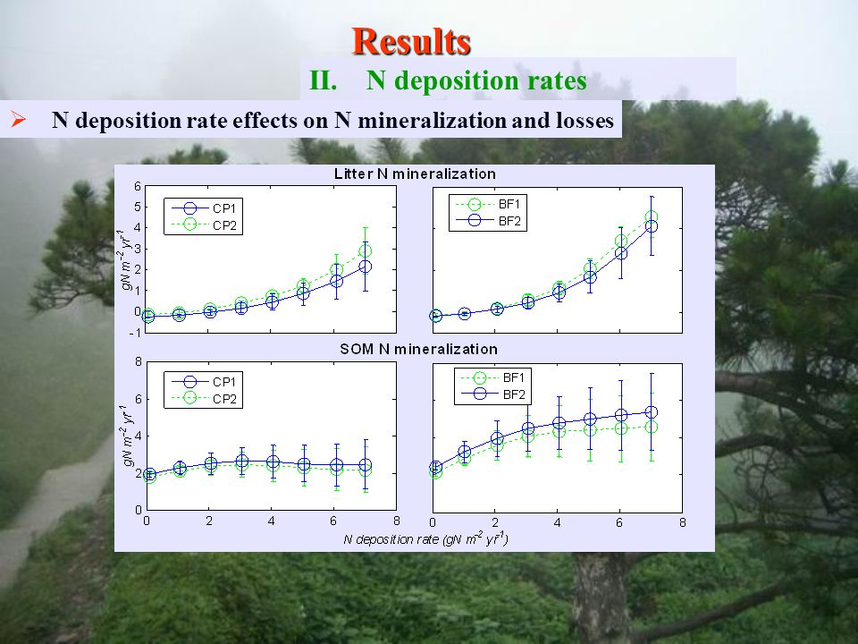   N deposition rate effects on N mineralization and losses Results II. II.N deposition rates