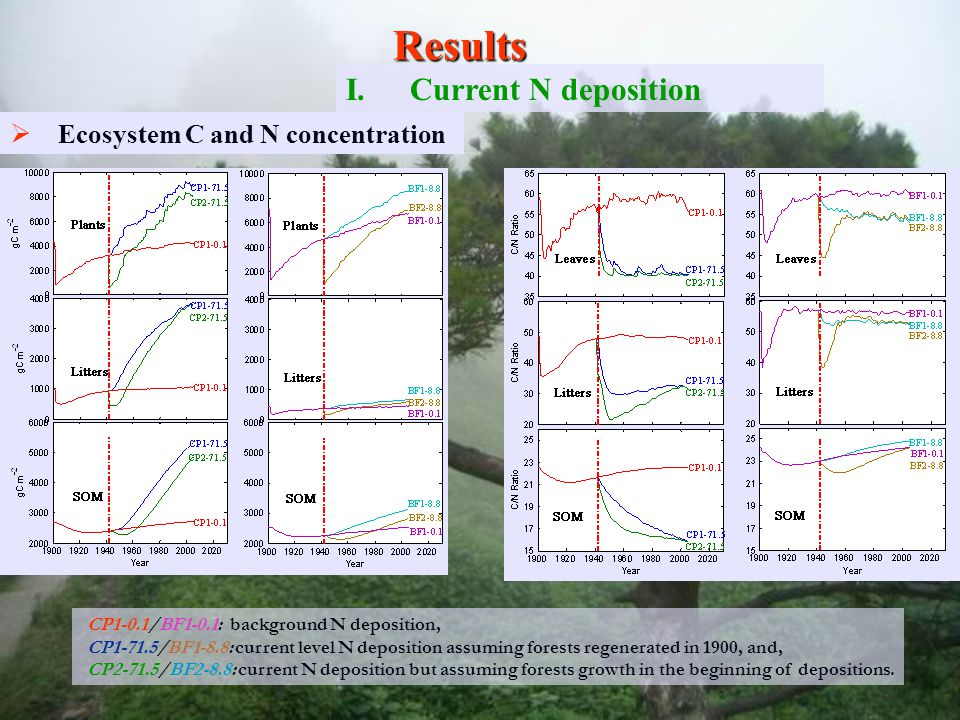   Ecosystem N Accumulation and losses Results I.