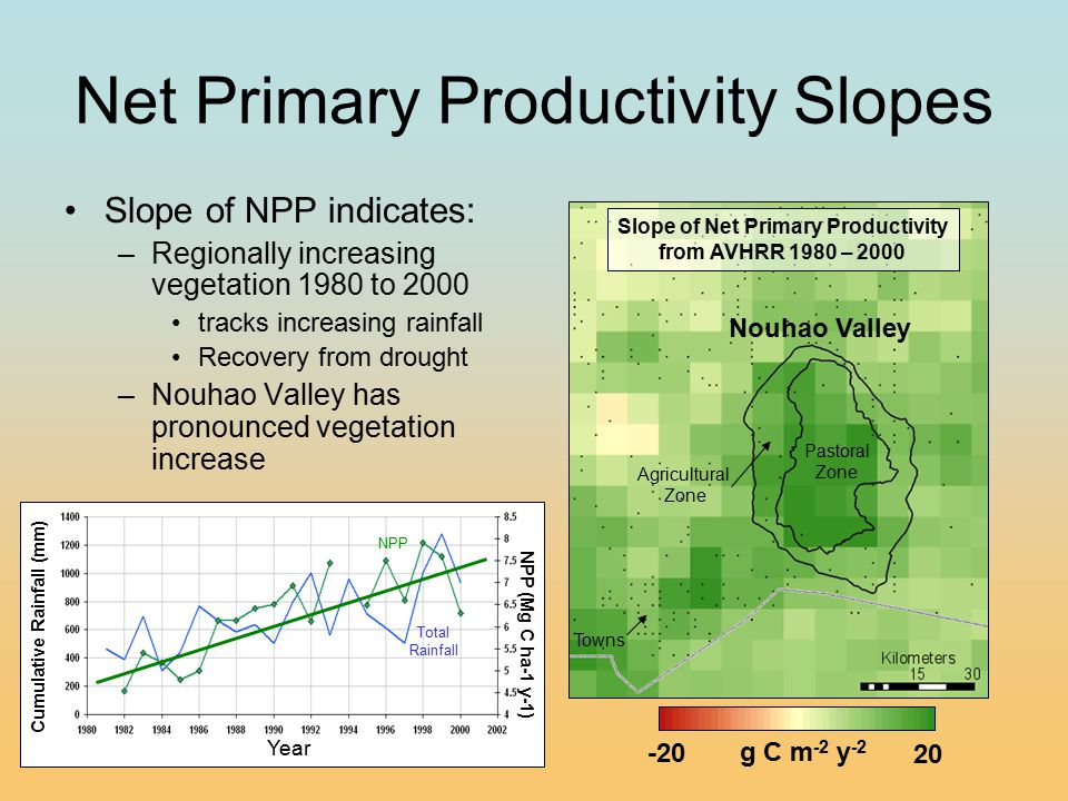 Net Primary Productivity Slopes Slope of NPP indicates: –Regionally increasing vegetation 1980 to 2000 tracks increasing rainfall Recovery from drough