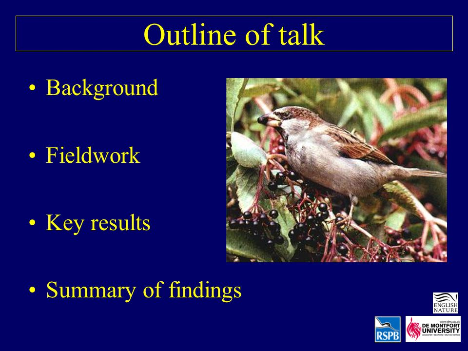 Outline of talk Background Fieldwork Key results Summary of findings