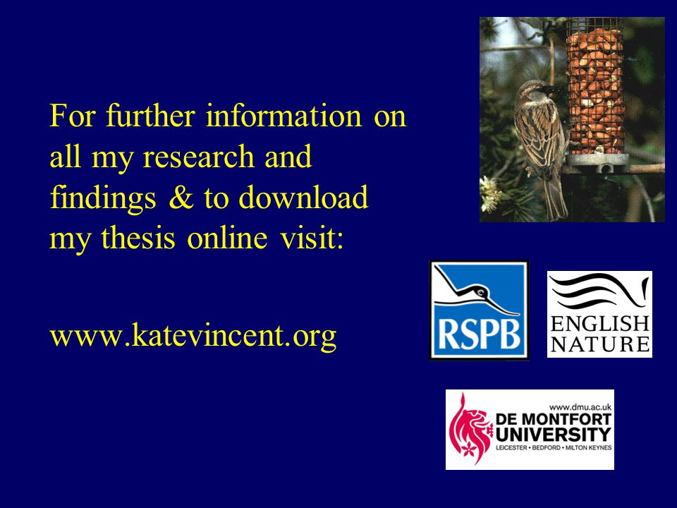 For further information on all my research and findings & to download my thesis online visit: www.katevincent.org