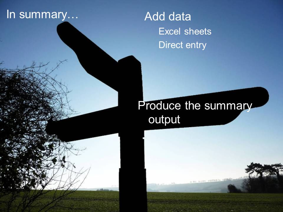 Produce the summary output In summary… Add data Excel sheets Direct entry