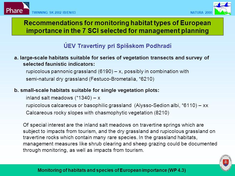 TWINNING SK 2002 IB/EN/03 NATURA 2000 Monitoring of habitats and species of European importance (WP 4.3) ÚEV Travertíny pri Spišskom Podhradí a.
