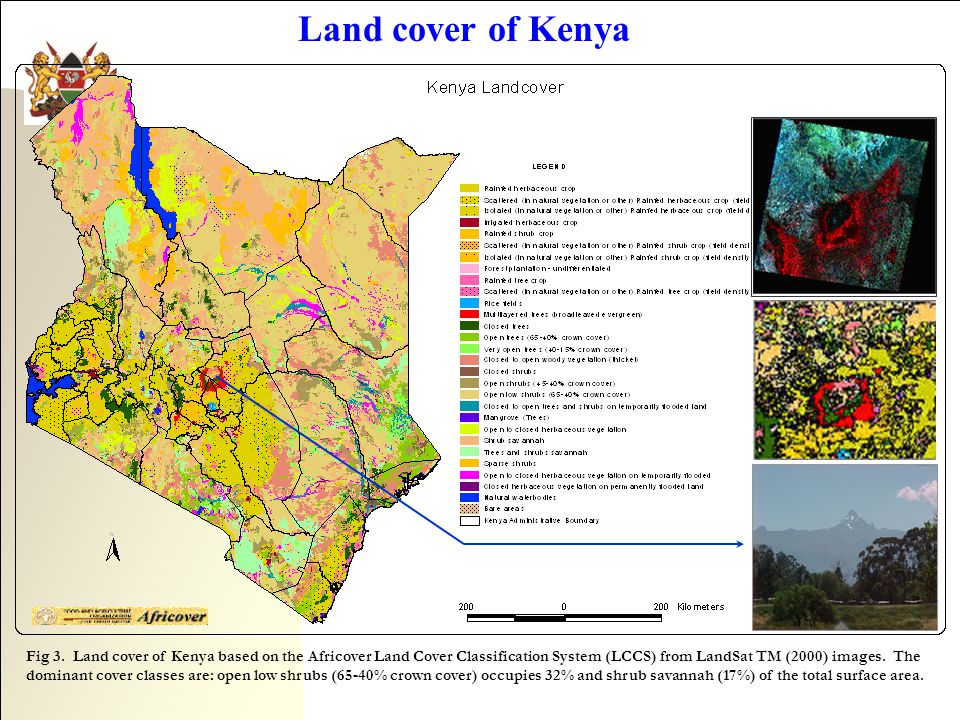 Land cover of Kenya Fig 3. Land cover of Kenya based on the Africover Land Cover Classification System (LCCS) from LandSat TM (2000) images. The domin