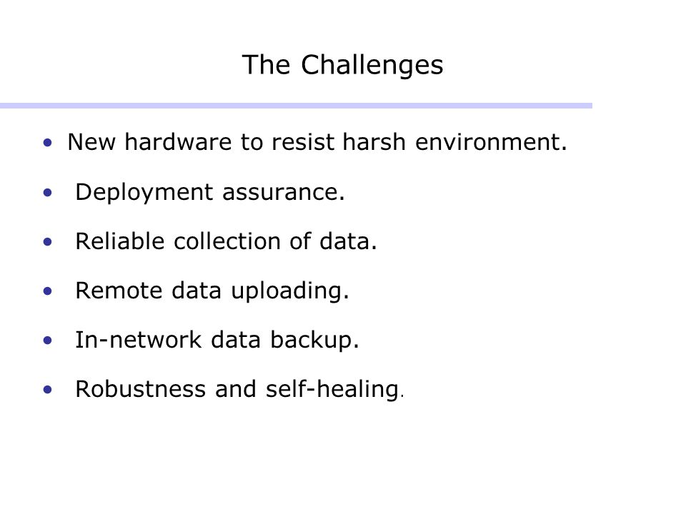 The Challenges New hardware to resist harsh environment.