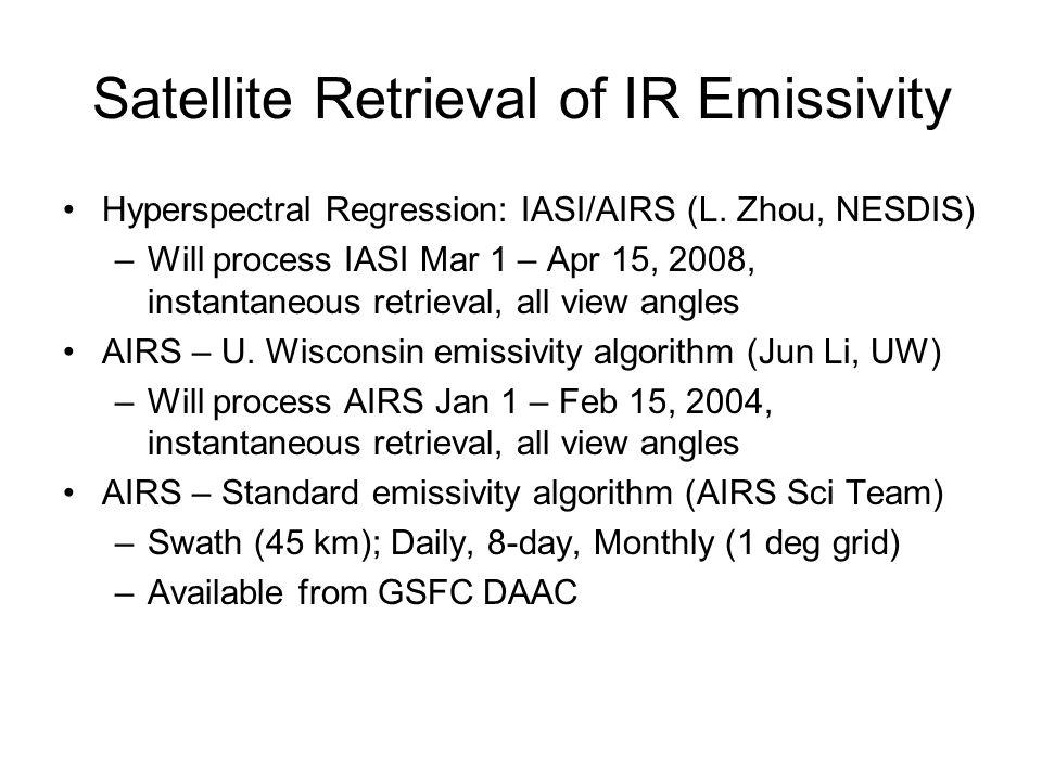 Satellite Retrieval of IR Emissivity Hyperspectral Regression: IASI/AIRS (L. Zhou, NESDIS) –Will process IASI Mar 1 – Apr 15, 2008, instantaneous retr