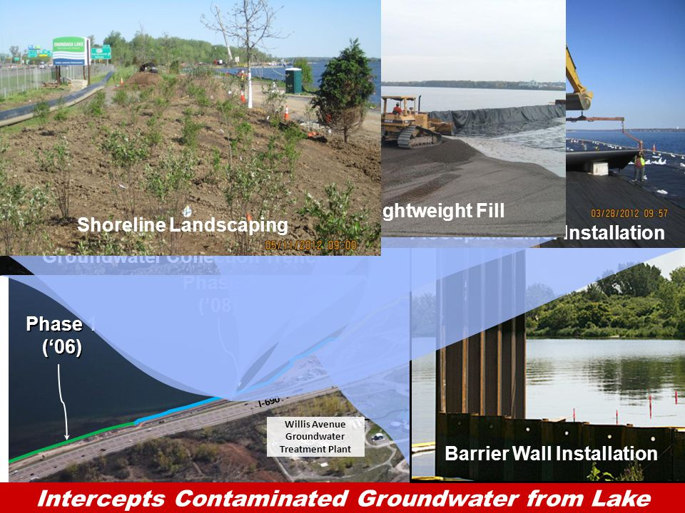 7HONEYWELL - CONFIDENTIAL File Number I-690 Onondaga Lake Groundwater Collection System Phase 1 ('06) Phase 2 ('08) Phase 3 ('10-'11) Willis Avenue Groundwater Treatment Plant Onondaga Lake Access Road I-690 Clay Marl Collection Trench Groundwater Restored Shoreline Groundwater to Treatment Facility Soil Barrier Wall Intercepts Contaminated Groundwater from Lake  Barrier Wall - 1.5 miles long  Average depth 30 to 70 feet  Collection system completion early 2012 Barrier Wall Installation Groundwater Collection Trench Floodplain Liner Installation Floodplain Lightweight Fill Shoreline Landscaping