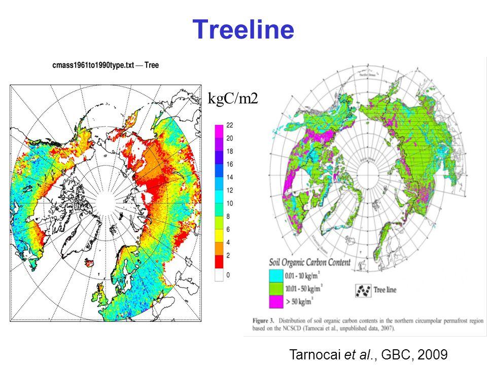 Treeline kgC/m2 Tarnocai et al., GBC, 2009