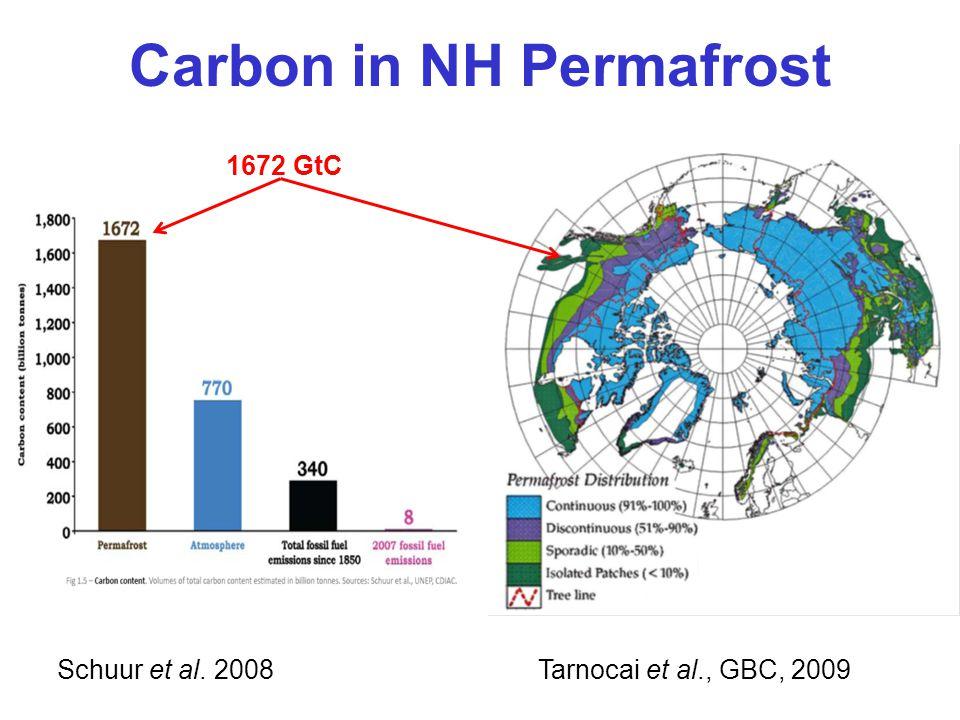 Carbon in NH Permafrost Tarnocai et al., GBC, 2009 Schuur et al. 2008 1672 GtC