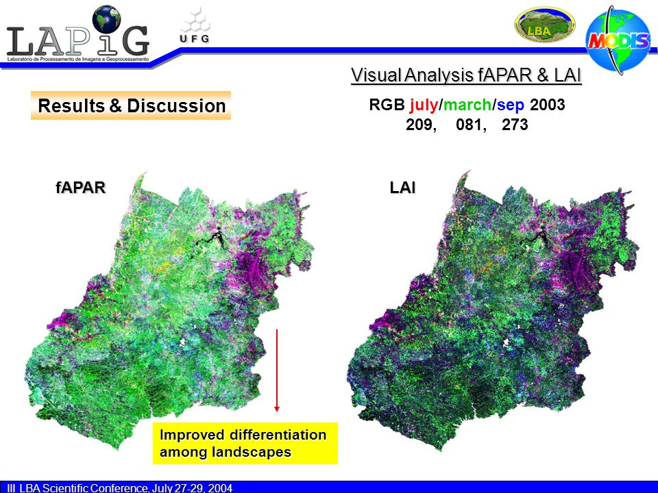 III LBA Scientific Conference, July 27-29, 2004 Results & Discussion LAIfAPAR Visual Analysis fAPAR & LAI RGB july/march/sep 2003 209, 081, 273 Improved differentiation among landscapes