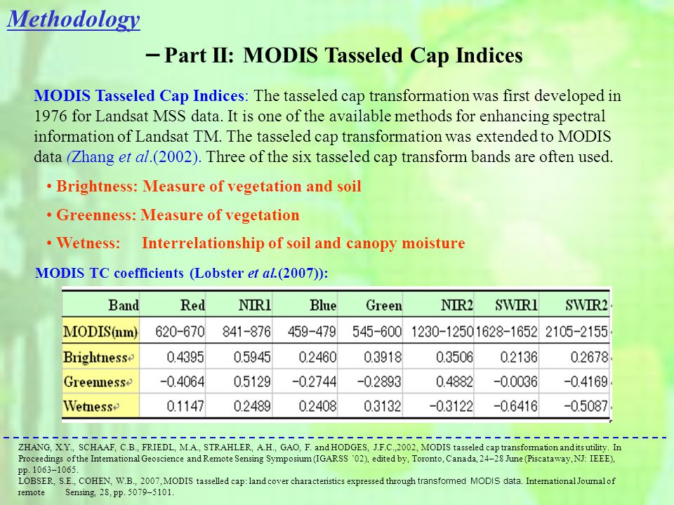 MODIS TC coefficients (Lobster et al.(2007)): MODIS Tasseled Cap Indices: The tasseled cap transformation was first developed in 1976 for Landsat MSS data.