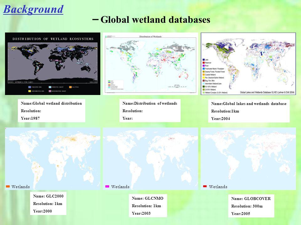 - Global wetland databases Name:Global wetland distribution Resolution: Year:1987 Name:Distribution of wetlands Resolution: Year: Wetlands Name: GLC2000 Resolution: 1km Year:2000 Name: GLCNMO Resolution: 1km Year:2003 Name: GLOBCOVER Resolution: 300m Year:2005 Name:Global lakes and wetlands database Resolution:1km Year:2004
