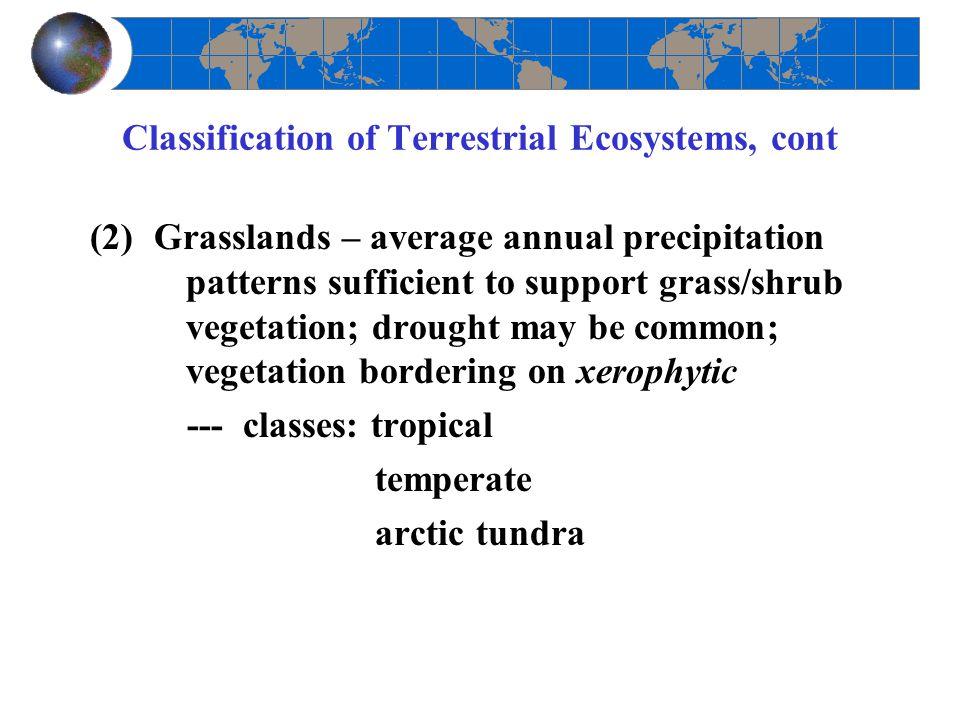 Classification of Terrestrial Ecosystems, cont (2)Grasslands – average annual precipitation patterns sufficient to support grass/shrub vegetation; dro