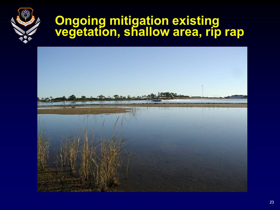 23 Ongoing mitigation existing vegetation, shallow area, rip rap