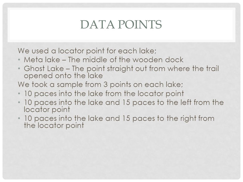 DATA POINTS We used a locator point for each lake; Meta lake – The middle of the wooden dock Ghost Lake – The point straight out from where the trail opened onto the lake We took a sample from 3 points on each lake; 10 paces into the lake from the locator point 10 paces into the lake and 15 paces to the left from the locator point 10 paces into the lake and 15 paces to the right from the locator point