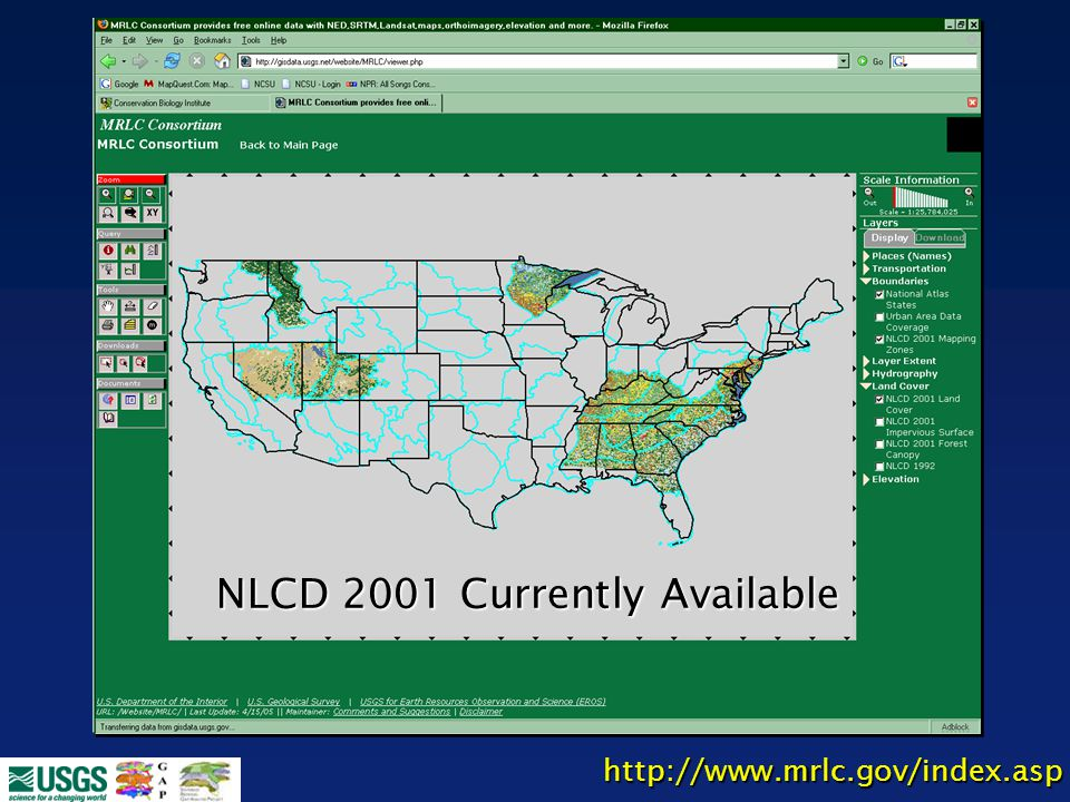 NLCD 2001 Currently Available http://www.mrlc.gov/index.asp