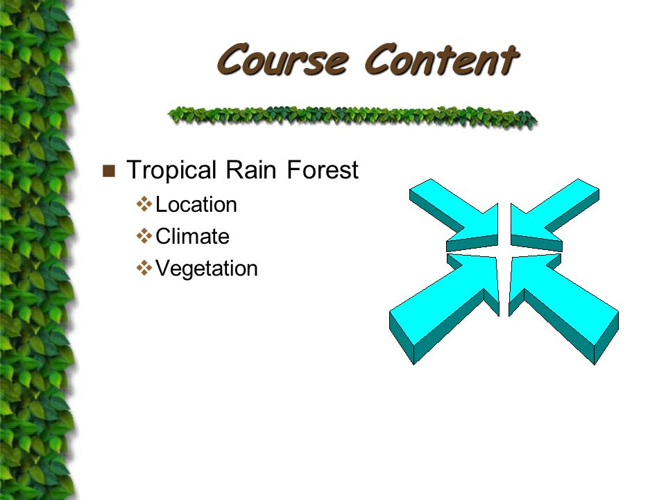 Course Content Tropical Rain Forest  Location  Climate  Vegetation