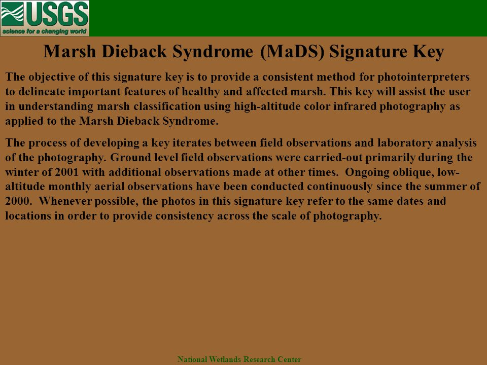 National Wetlands Research Center Marsh Dieback Syndrome (MaDS) Signature Key The objective of this signature key is to provide a consistent method for photointerpreters to delineate important features of healthy and affected marsh.