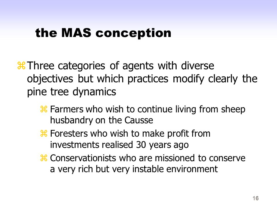 16 the MAS conception zThree categories of agents with diverse objectives but which practices modify clearly the pine tree dynamics zFarmers who wish to continue living from sheep husbandry on the Causse zForesters who wish to make profit from investments realised 30 years ago zConservationists who are missioned to conserve a very rich but very instable environment