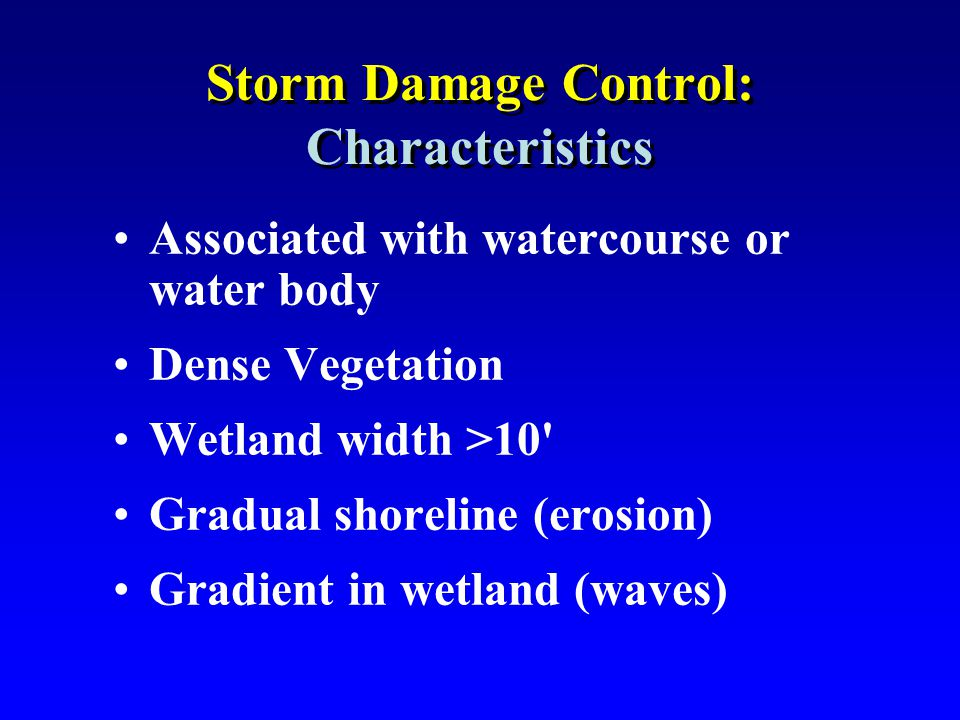 Storm Damage Control: Characteristics Associated with watercourse or water body Dense Vegetation Wetland width >10' Gradual shoreline (erosion) Gradie