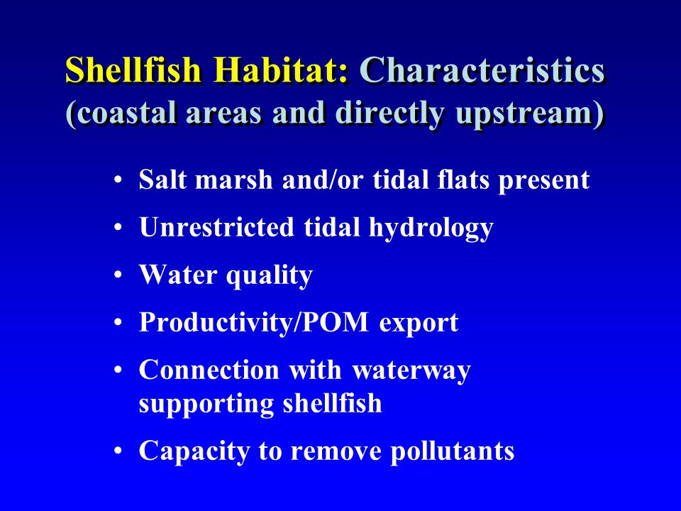 Shellfish Habitat: Characteristics (coastal areas and directly upstream) Salt marsh and/or tidal flats present Unrestricted tidal hydrology Water qual