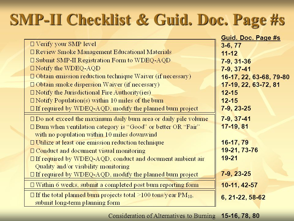 SMP-II Checklist & Guid.Doc. Page #s Guid. Doc.