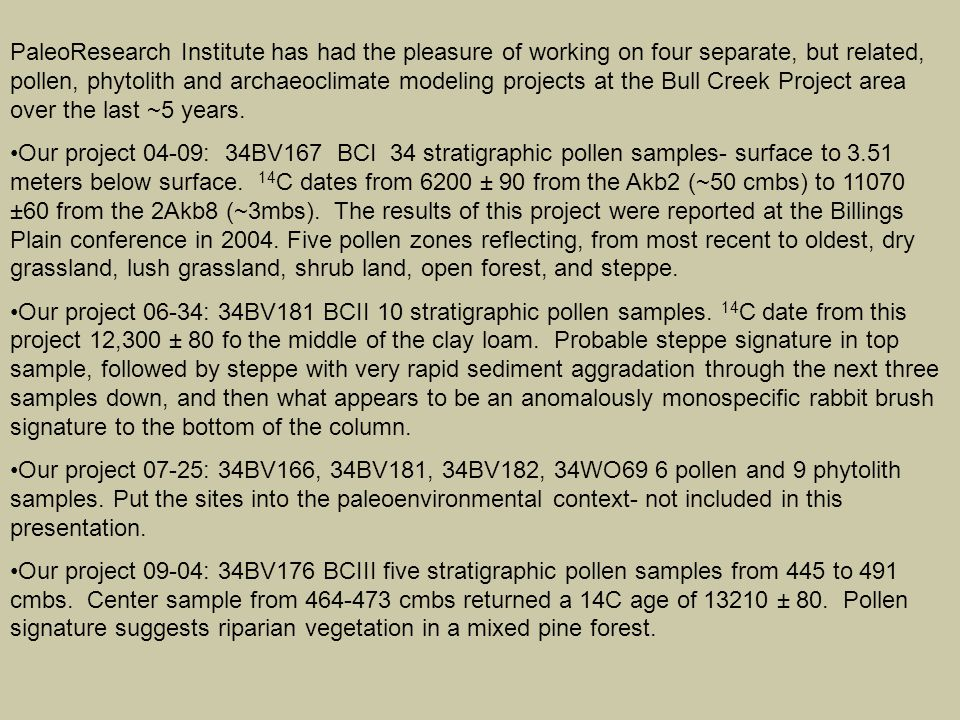 Presentation Format Revisit initial pollen diagram presented at Plains 2004: introduce types, zones, and reasons we divided into those zones.