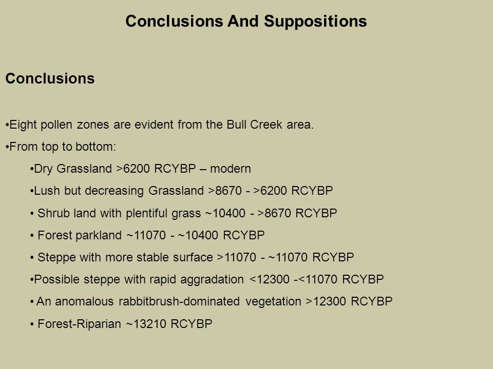 Conclusions And Suppositions Conclusions Eight pollen zones are evident from the Bull Creek area.