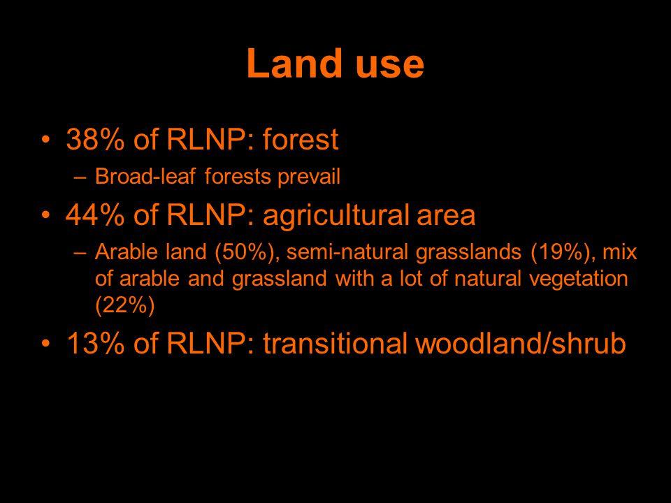 Land use 38% of RLNP: forest –Broad-leaf forests prevail 44% of RLNP: agricultural area –Arable land (50%), semi-natural grasslands (19%), mix of arable and grassland with a lot of natural vegetation (22%) 13% of RLNP: transitional woodland/shrub