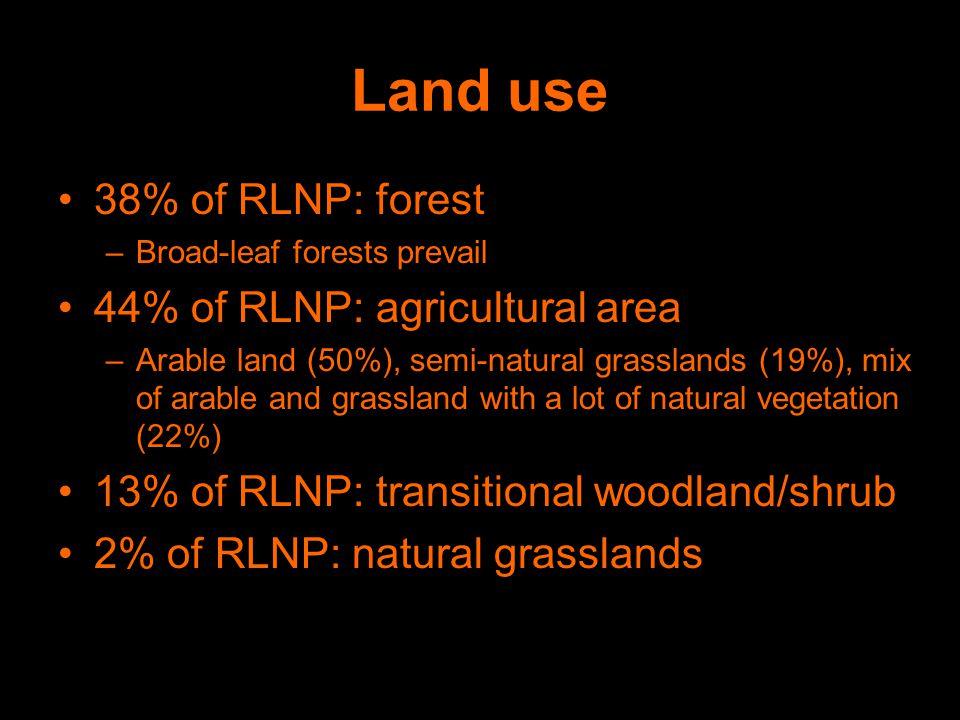 Land use 38% of RLNP: forest –Broad-leaf forests prevail 44% of RLNP: agricultural area –Arable land (50%), semi-natural grasslands (19%), mix of arable and grassland with a lot of natural vegetation (22%) 13% of RLNP: transitional woodland/shrub 2% of RLNP: natural grasslands