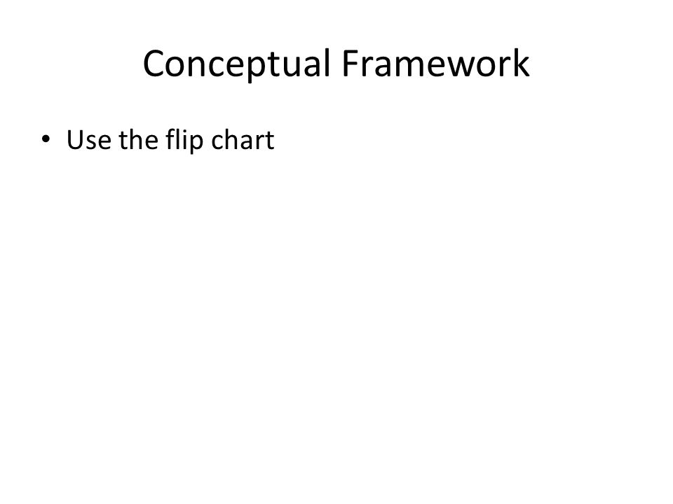 Conceptual Framework Use the flip chart