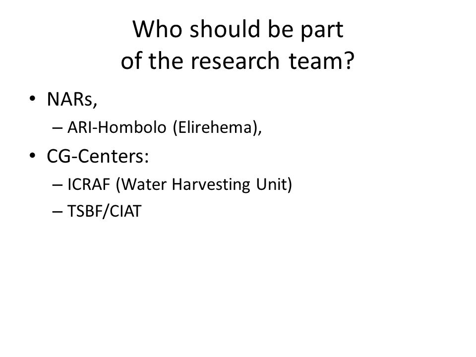 Who should be part of the research team.