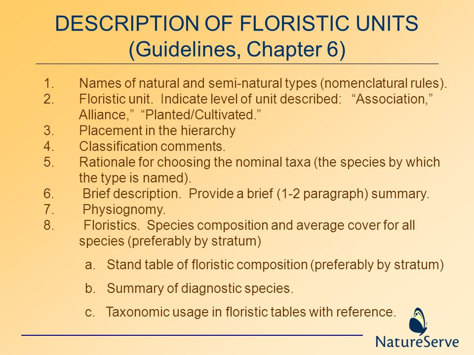 DESCRIPTION OF FLORISTIC UNITS (Guidelines, Chapter 6) 1.Names of natural and semi-natural types (nomenclatural rules).
