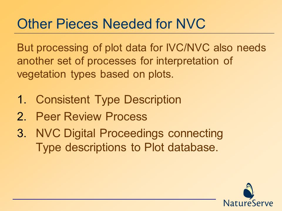 Other Pieces Needed for NVC 1.Consistent Type Description 2.Peer Review Process 3.NVC Digital Proceedings connecting Type descriptions to Plot database.