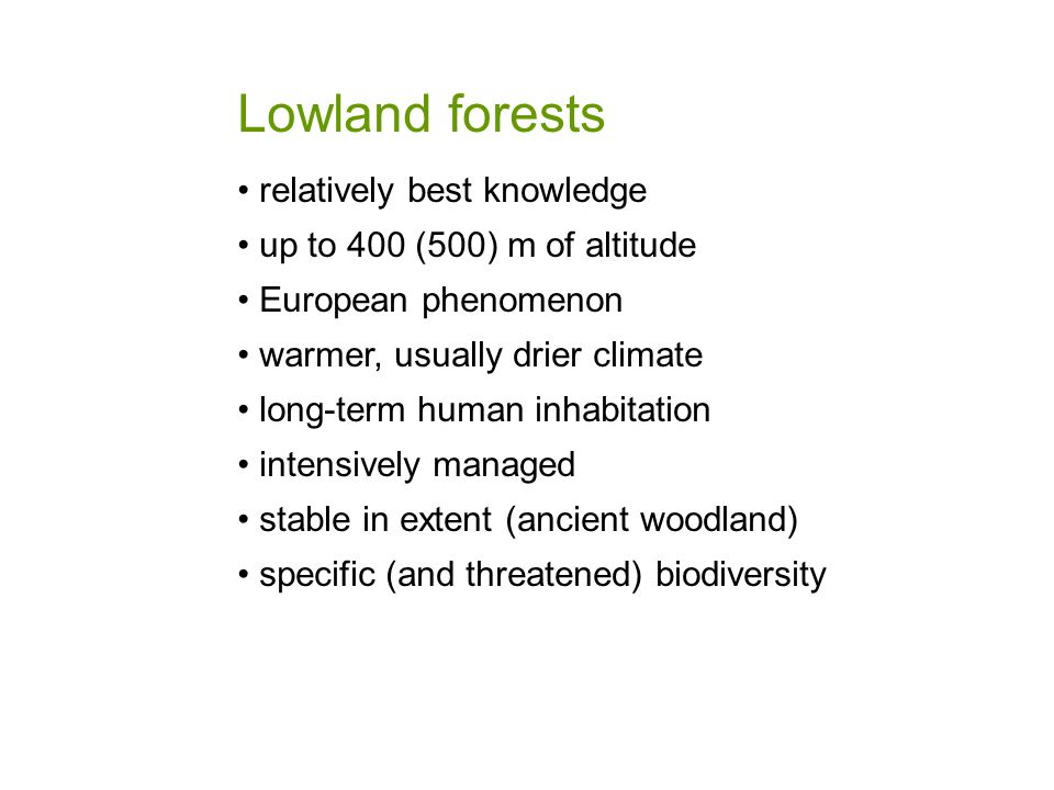 Lowland forests relatively best knowledge up to 400 (500) m of altitude European phenomenon warmer, usually drier climate long-term human inhabitation intensively managed stable in extent (ancient woodland) specific (and threatened) biodiversity