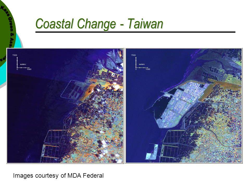 Coastal Change - Taiwan Landsat TM P118 R43 Jul 21, 1990 Landsat TM P118 R44 Jul 21, 1990 Landsat ETM+ P118 R43 Mar 13, 2001 Images courtesy of MDA Fe