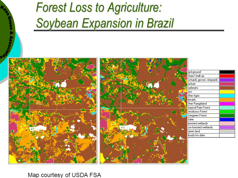 """Forest Loss to Agriculture: Soybean Expansion in Brazil 1996 2002 52° 45' 02.03"""" W, 24° 31' 07.49"""" S Map courtesy of USDA FSA"""
