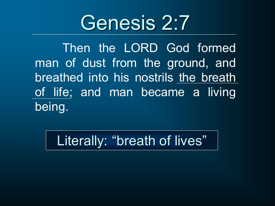 Genesis 2:7 Then the LORD God formed man of dust from the ground, and breathed into his nostrils the breath of life; and man became a living being. Li