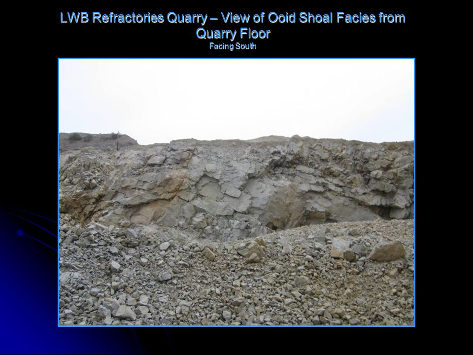 LWB Refractories Quarry – View of Ooid Shoal Facies from Quarry Floor Facing South