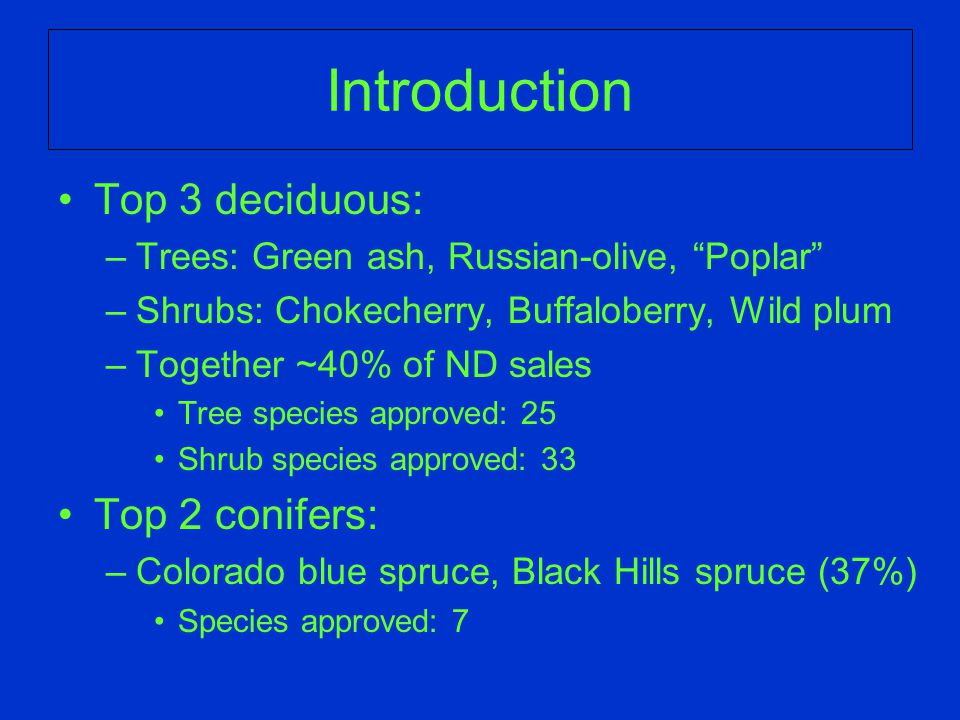 Introduction Top 3 deciduous: –Trees: Green ash, Russian-olive, Poplar –Shrubs: Chokecherry, Buffaloberry, Wild plum –Together ~40% of ND sales Tree species approved: 25 Shrub species approved: 33 Top 2 conifers: –Colorado blue spruce, Black Hills spruce (37%) Species approved: 7