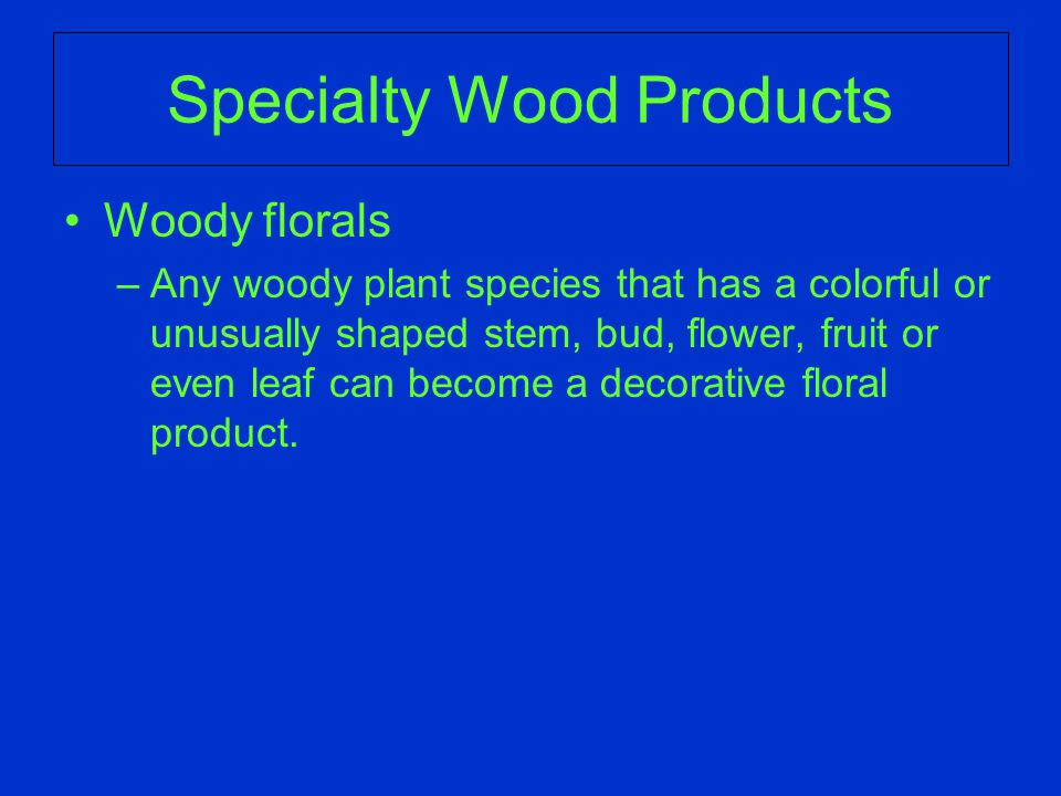 Woody florals –Any woody plant species that has a colorful or unusually shaped stem, bud, flower, fruit or even leaf can become a decorative floral product.